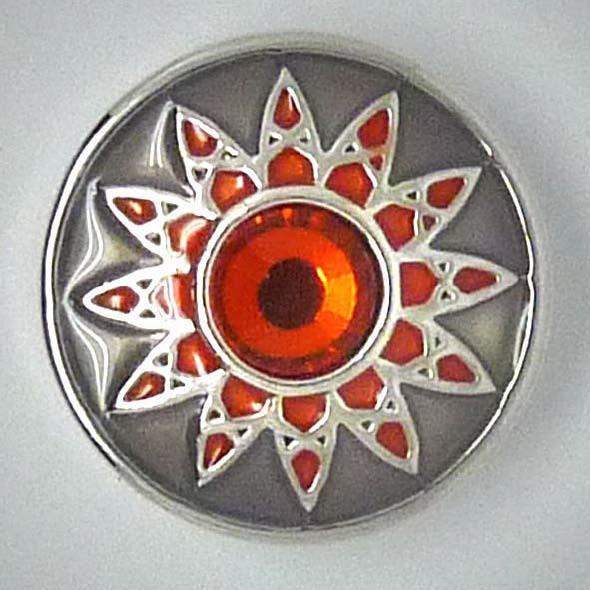 Druckknopf, Blume mit Strass, grau/orange, ca. 20mm