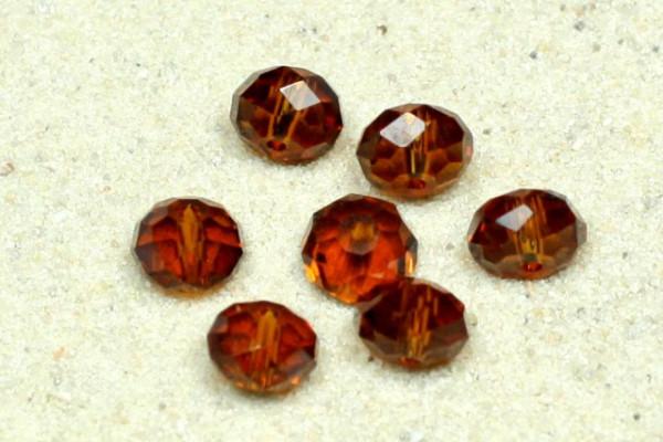 Glasschliffperlen, Rondell, dark topaz, 6x4mm