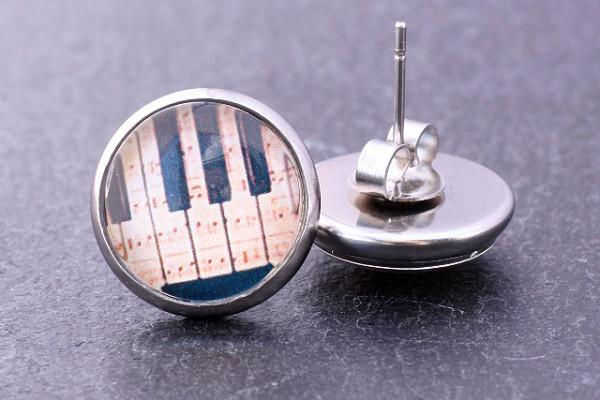 Motivohrstecker, Edelstahl, Klaviertasten, 12mm