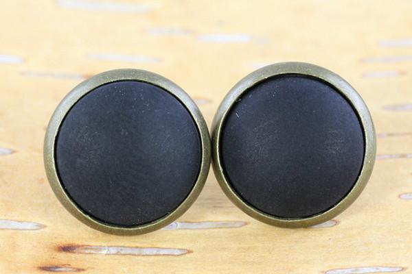Ohrstecker, bronzefarben, Polaris Cabochon, schwarz, 12mm