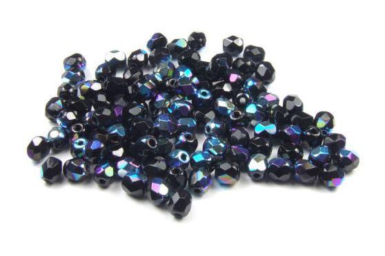Böhmische Glasschliffperlen, schwarz AB, 4mm, 50 Stück