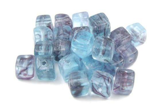 Glasperlen, Würfel, aqua marmoriert, 6mm