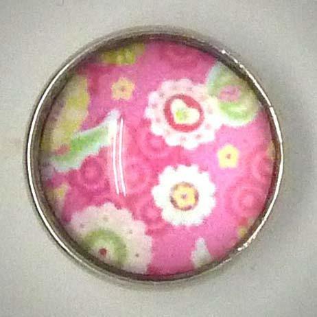 Druckknopf, Floral Rosa, ca. 18mm