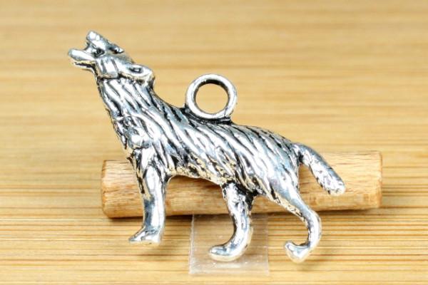 Anhänger, Motiv Wolf, 3D, 25x18 mm