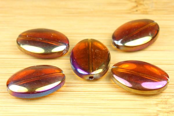 Glasperlen, oval, pflaume Lüster, 18x13mm