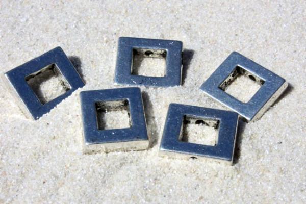 Big Pack Metallperlen, offenes Quadrat, versilbert, 10mm - 50 St