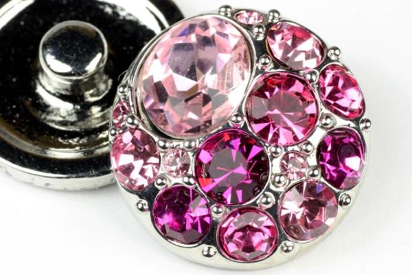 Druckknopf, rosa/pinker Strass, 20mm