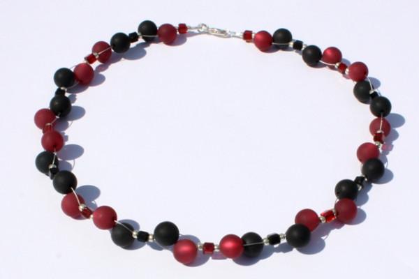 Halskette, Polarisperlen, schwarz-weinrot