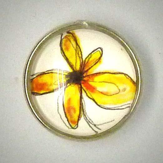 Click-Button, Blüte, gelb, ca. 18mm