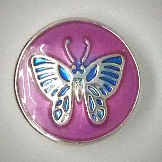 Druckknopf, Schmetterling, rosa/blau/silberfarben, 20mm