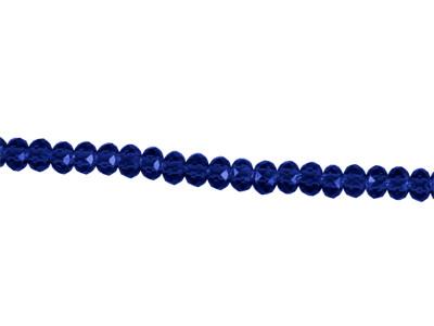 Glasperlen, facettiert, Rondelle, blau, 2x3mm, ca. 200 Stück per Strang