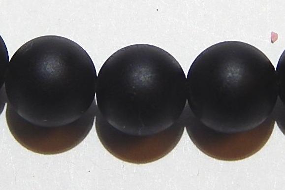 Lava Kugel, glatte Oberfläche, schwarz, Ø 8mm