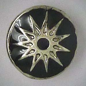 Mini Click-Button, Stern, schwarz/silber, ca. 12mm