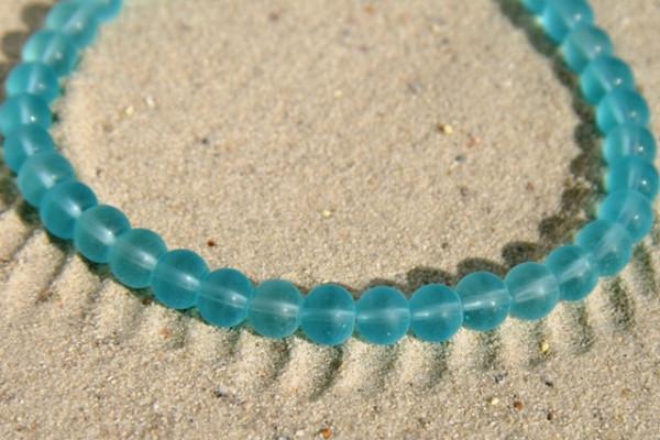 Glasperlen, aquamarine, matt, 6mm