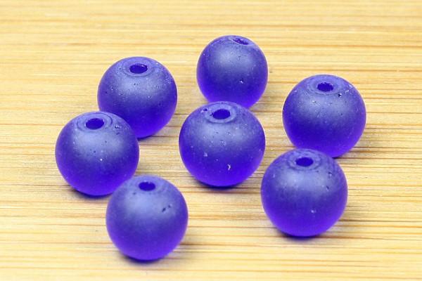 mattierte Glasperlen, königsblau, ca. 6mm
