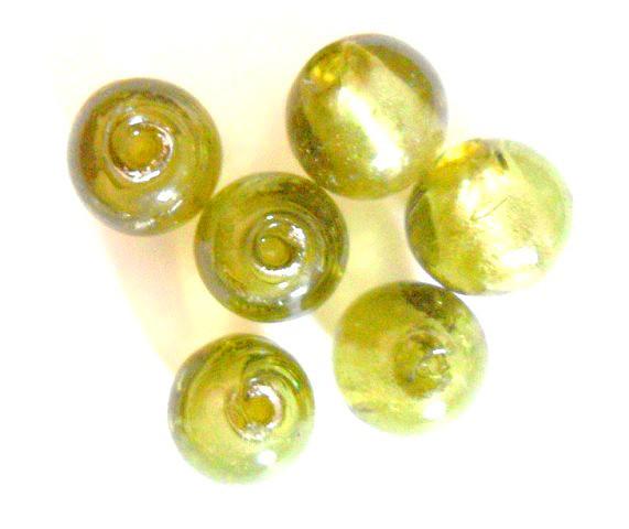 Glasperlen mit Silberfolieneinzug, rund, oliv, ca. 15mm