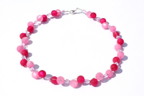 Halskette, Polarisperlen, himbeerrot-rose