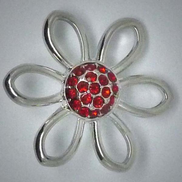 Schmuckdruckknopf, große Blume mit rotem Strass, 30mm