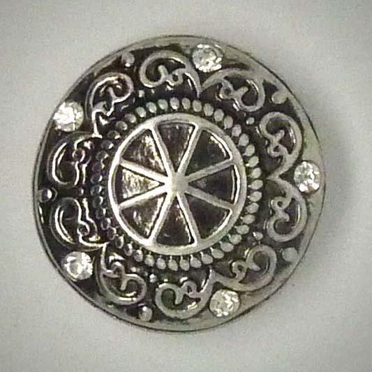 Zierschmuckknopf, Ornamente mit 5 Strasssteinen, ca. 20mm