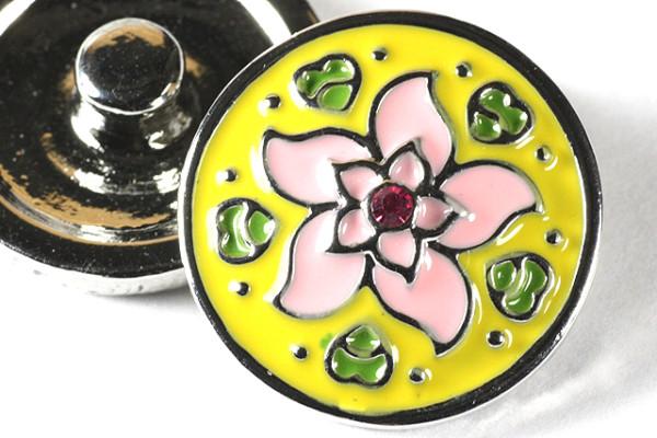 Druckknopf, Blume mit Strass, gelb/rosa, 20mm