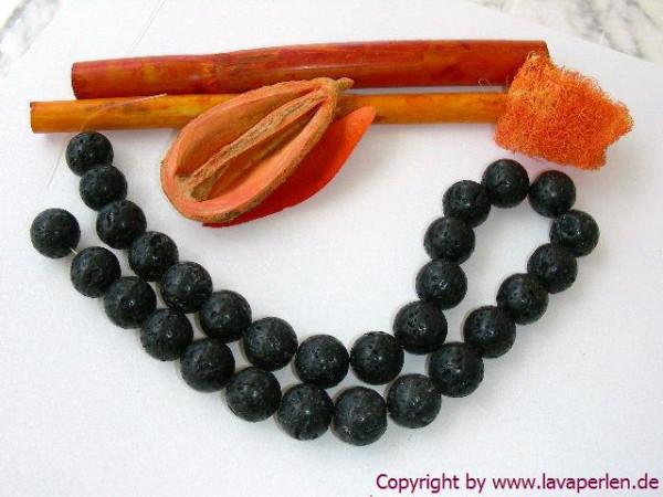 Lavaperlen, Strang, rund, schwarz, geölt und poliert, 14mm
