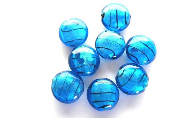 Glasperlen mit Silberfolieneinzug, Button, blau, ca. 20x10mm