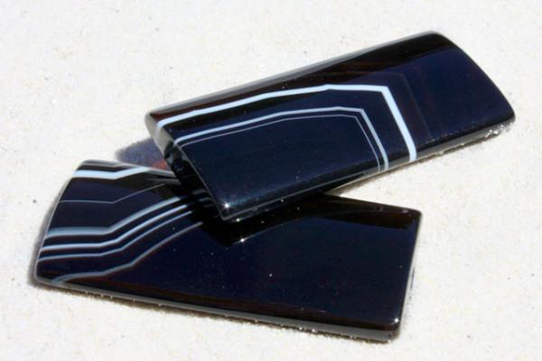 Achat-Rechteck, schwarz mit weißem Muster, 45x20mm