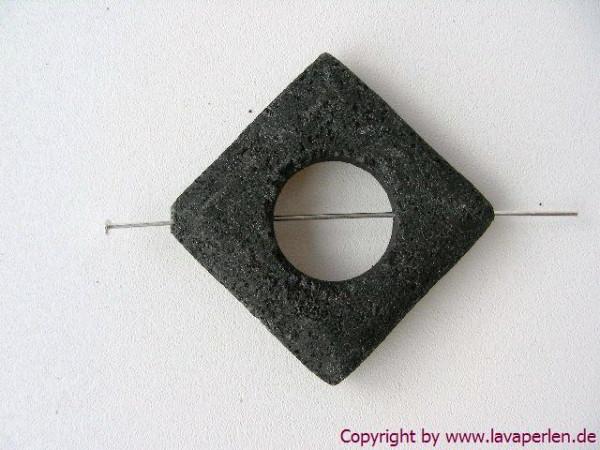 Lava Quadrat, Loch mittig, diagonal gebohrt, schwarz, 30x30mm