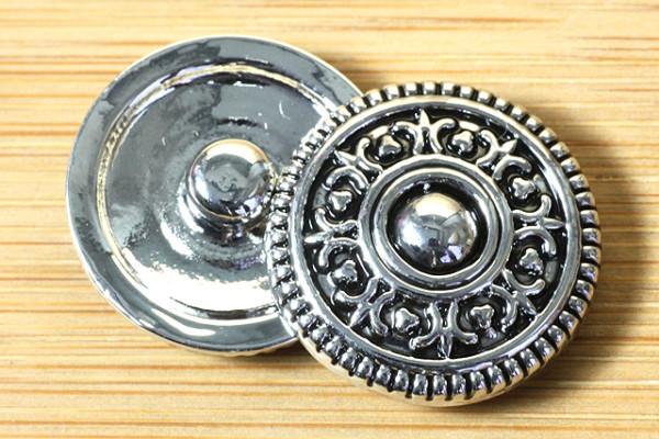 Druckknopf, silberfarben-schwarz, 20mm