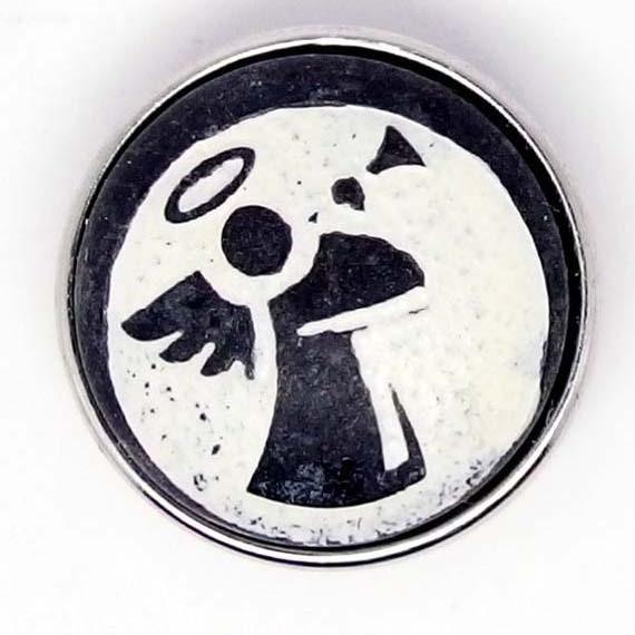 Druckknopf, Engel in Stein, schwarz/weiß, ca. 18mm
