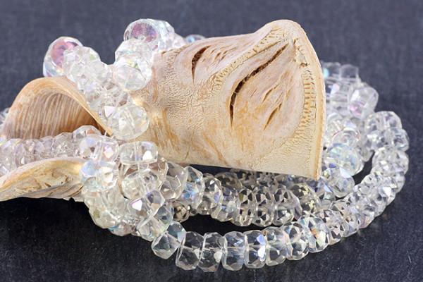 Rondelle, Kristallglas, transparent AB, 8x4mm