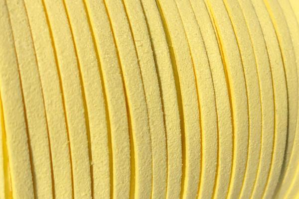 Veloursband in Wildlederoptik, flach, hellgelb, ca. 3x1.4mm
