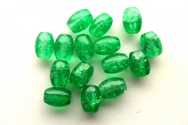 Glasperlen mit Crackle Effekt, Oliven, grün, 8x11mm