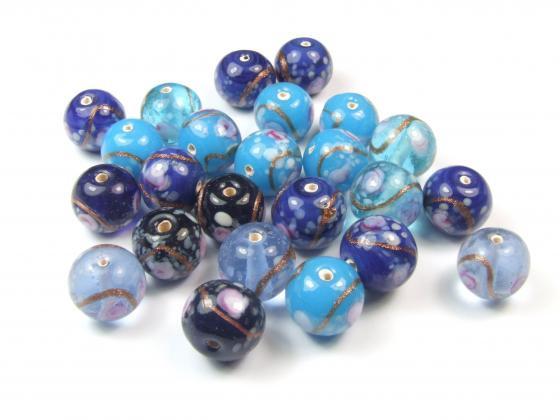 Lampenperlen, rund, Blau-Mix, 12mm