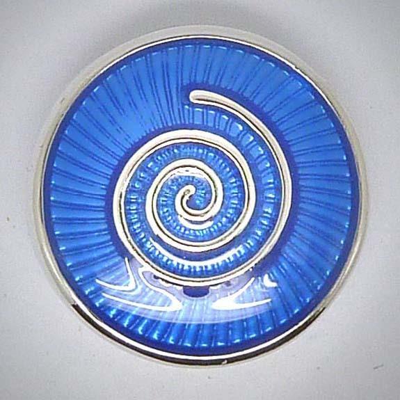 Click-Button, Schnecke/Spirale, blau, 20mm