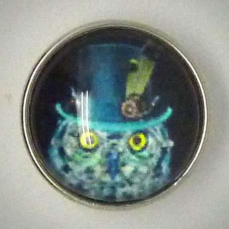 Click-Button, Eule mit Zylinder, türkis/blau/schwarz, ca. 18mm