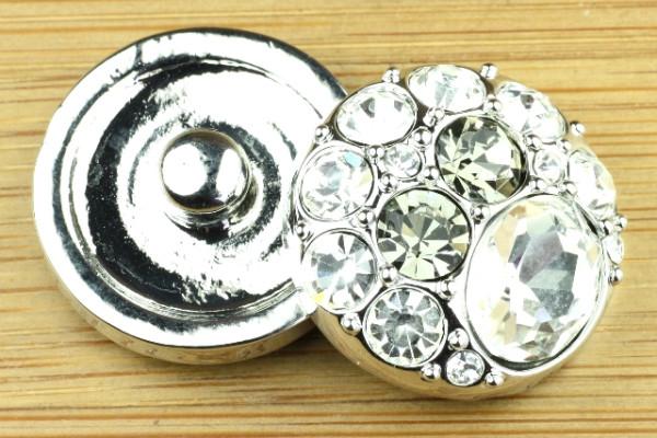 Click-Button, transparente Steine, 20mm