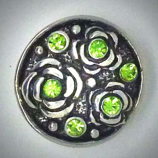 Druckknopf, Rosen, grüner Strass, 20mm