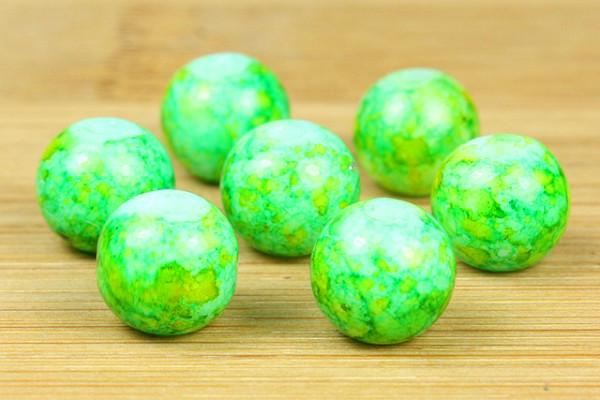 Glasperlen, grün marmoriert, 8mm