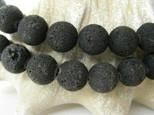 Lavaperlen, Strang, rund, schwarz, unbehandelt, Ø 12mm