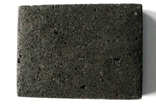 Lava-Rechteck, horizontale Bohrung, schwarz, 40x30x10mm