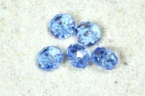 Kristallperlen, Rondelle, himmel-blau, 6x4mm