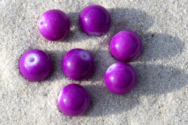Glasperlen, opak lila, 8mm