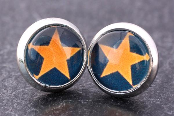 Mini Ohrstecker, Stern, orange/schwarz, silberfarben, 8mm