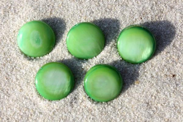 Muschelperlen, Scheiben, grün, 10mm