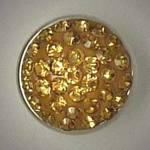 Mini Druckknopf, hellbraune Glitzersteine, ca. 13mm