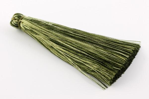 Quasten, Seide, groß, Oliv meliert, 7cm