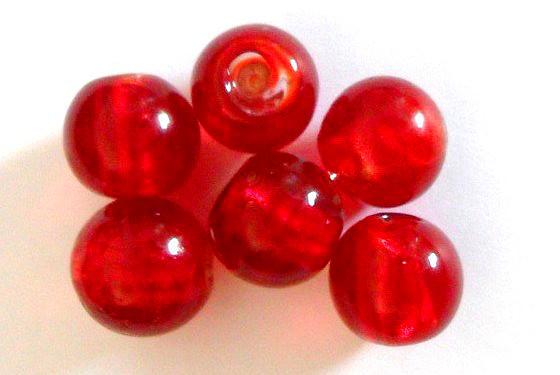 Glasperlen mit Silberfolieneinzug, rund, rot, ca. 15mm