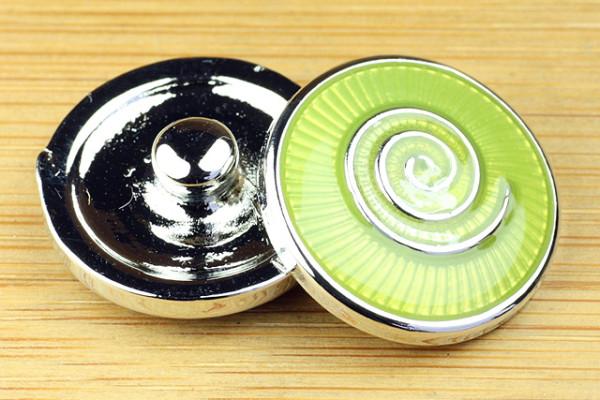Click-Button, Schnecke/Spirale, grün, 20mm
