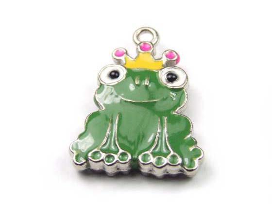 Anhänger, Frosch mit Emaille, grün, 20mm